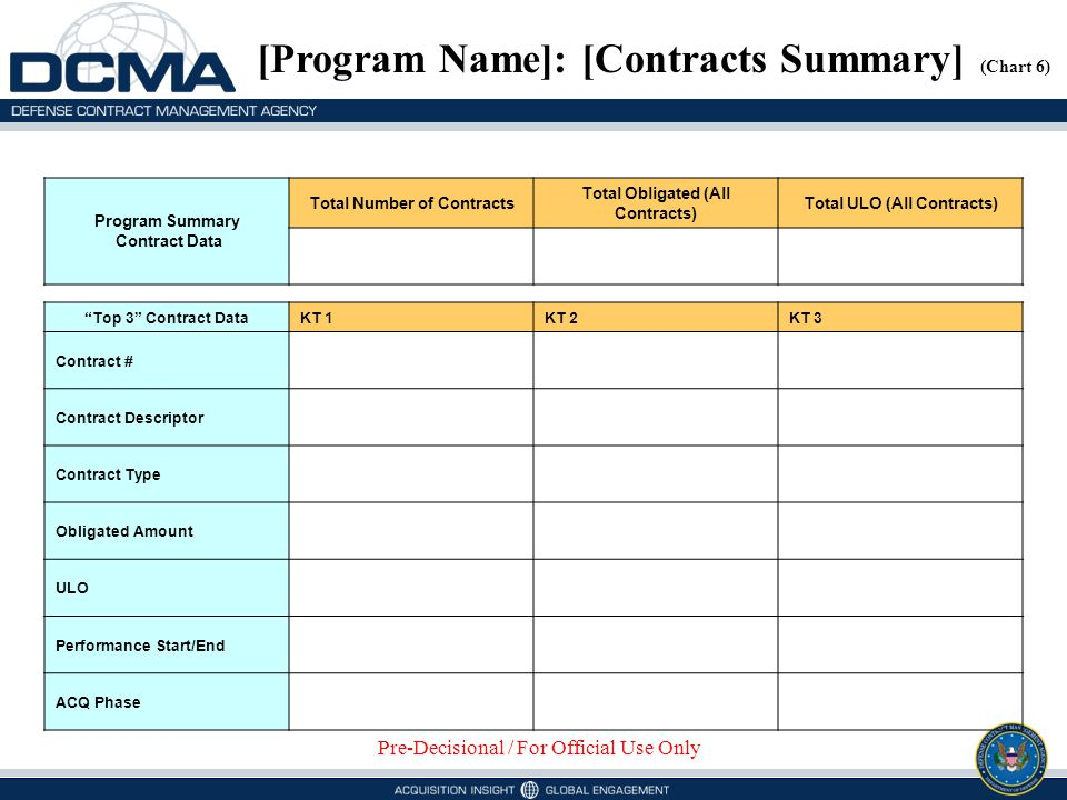 [Program Name]: [Contracts Summary] (Chart 6)